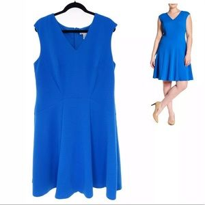 16W 1X▪️BLUE TEXTURED FIT & FLARE DRESS Plus Size